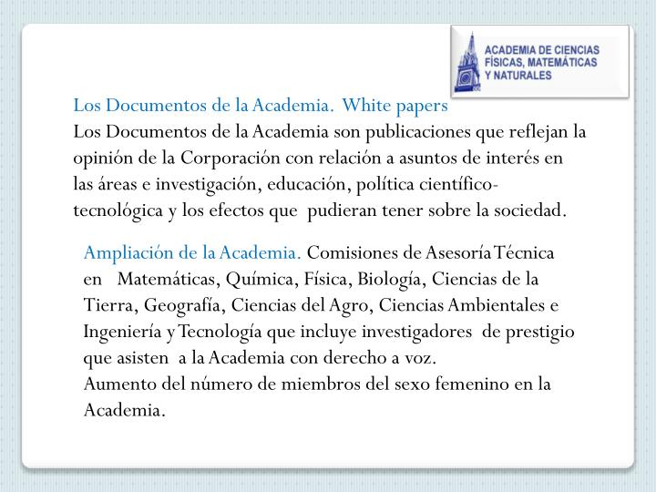 Los Documentos de la Academia.  White papers