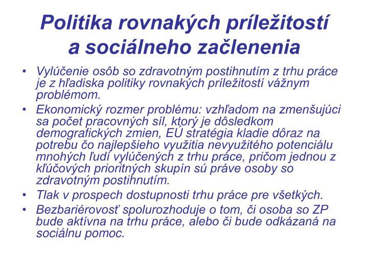 Politika rovnakých príležitostí asociálneho začlenenia
