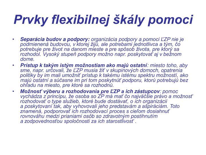 Prvky flexibilnej škály pomoci