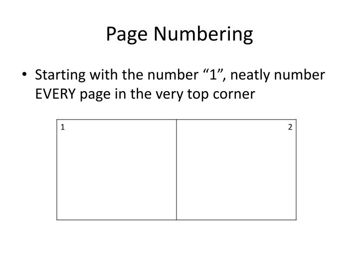 Page Numbering
