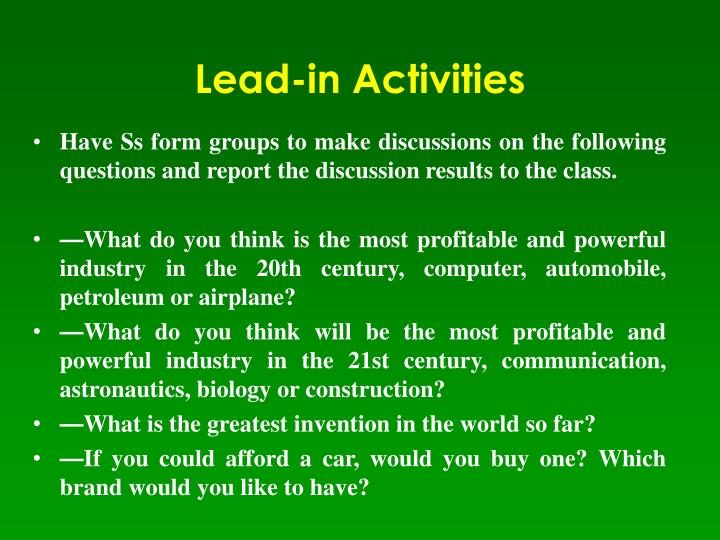 Lead-in Activities