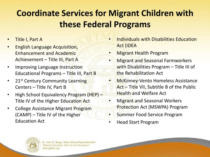Coordinate Services for Migrant Children with these Federal Programs