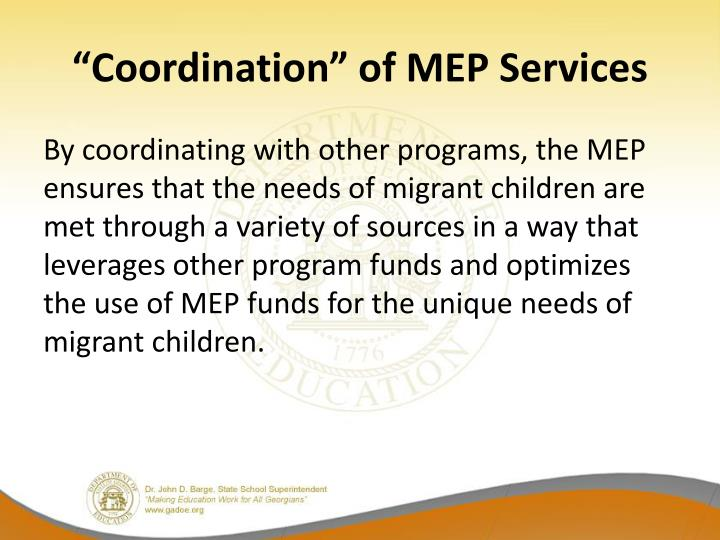 """Coordination"" of MEP Services"