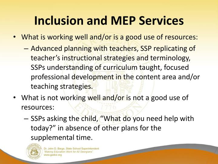 Inclusion and MEP Services