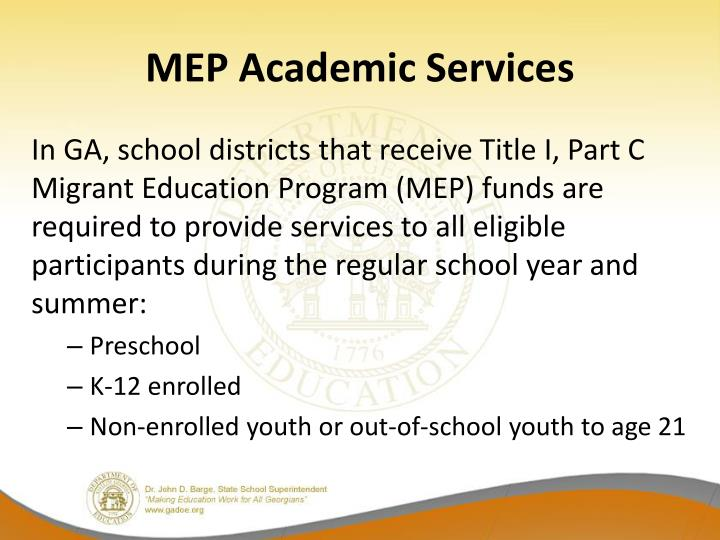 MEP Academic Services