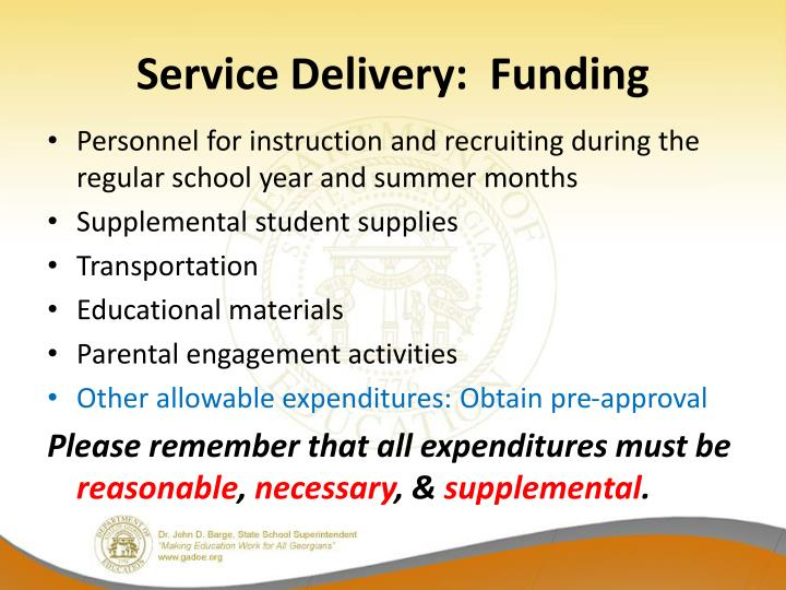 Service Delivery:  Funding