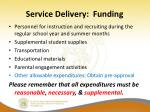 service delivery funding