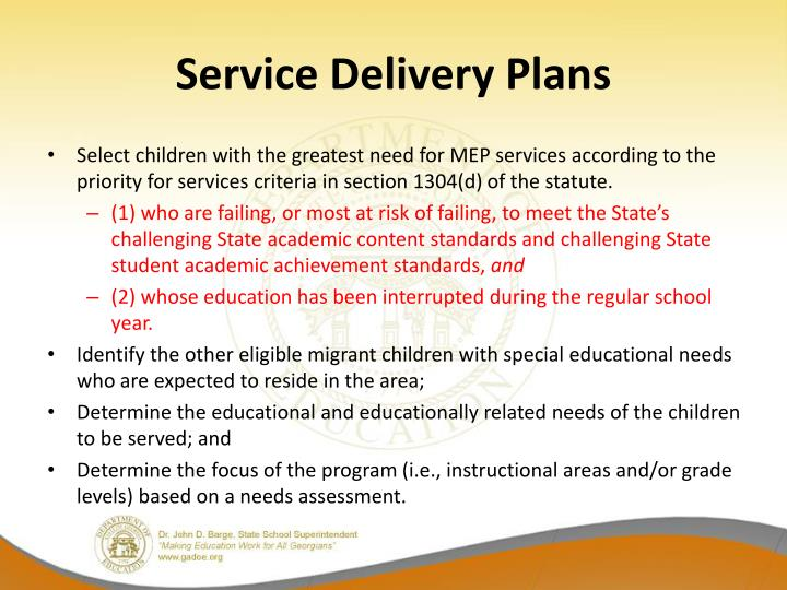 Service Delivery Plans