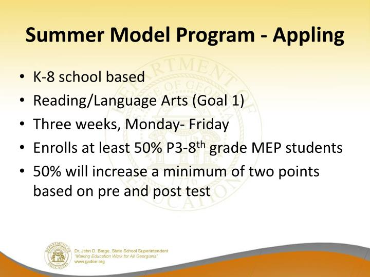 Summer Model Program - Appling