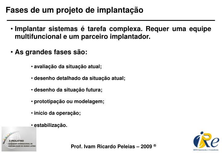 Fases de um projeto de implantação