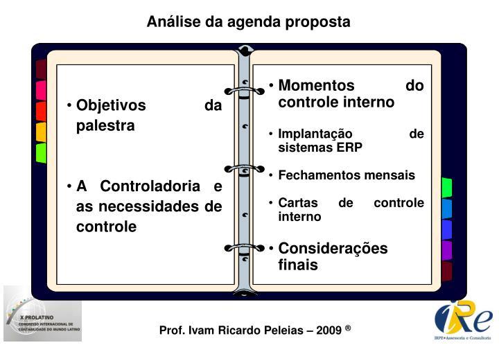 Análise da agenda proposta