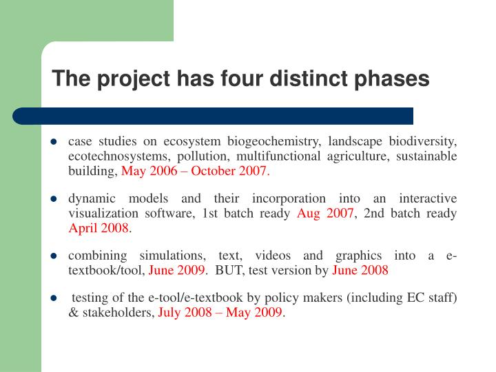 The project has four distinct phases