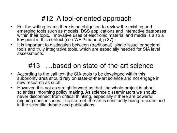 #12  A tool-oriented approach