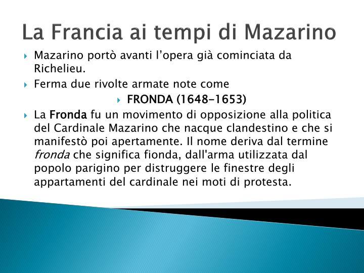 La Francia ai tempi di Mazarino