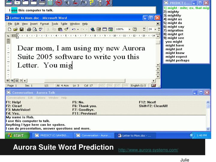 Aurora Suite Word Prediction