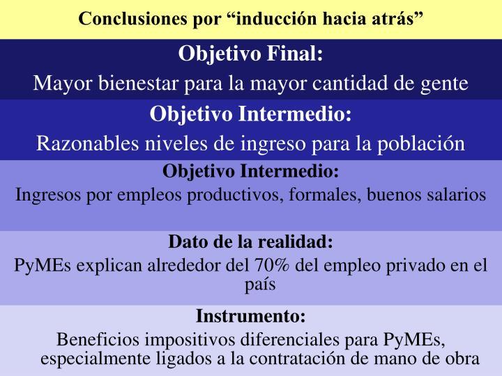 """Conclusiones por """"inducción hacia atrás"""""""