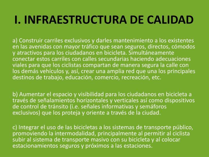 I. INFRAESTRUCTURA DE CALIDAD