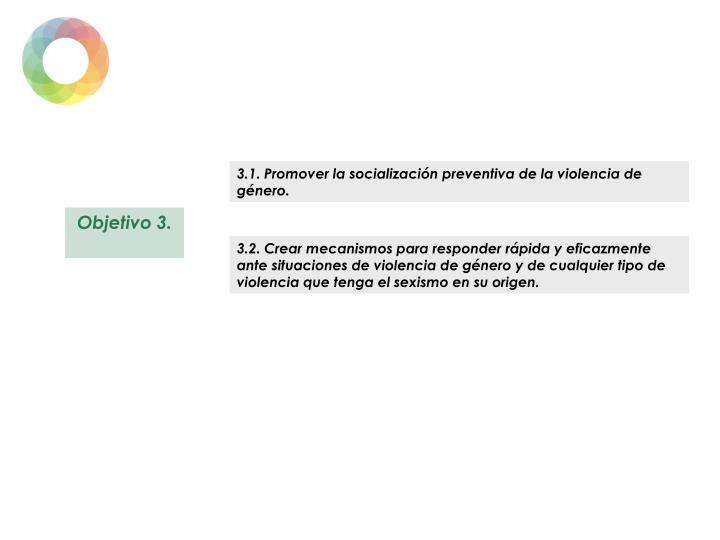3.1. Promover la socialización preventiva de la violencia de género.
