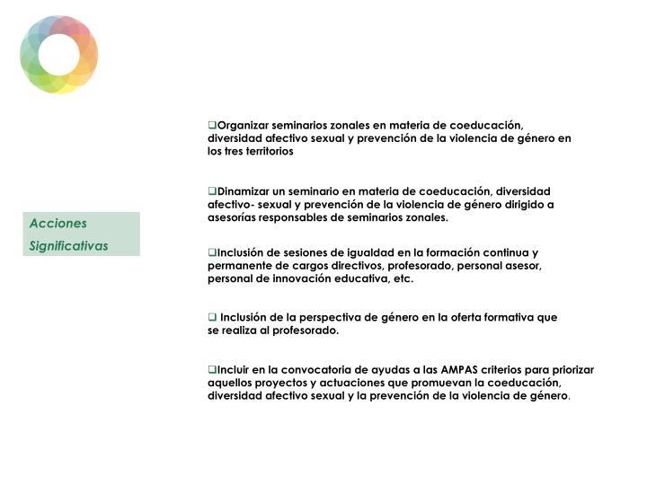 Organizar seminarios zonales en materia de coeducación, diversidad afectivo sexual y prevención de la violencia de género en los tres territorios