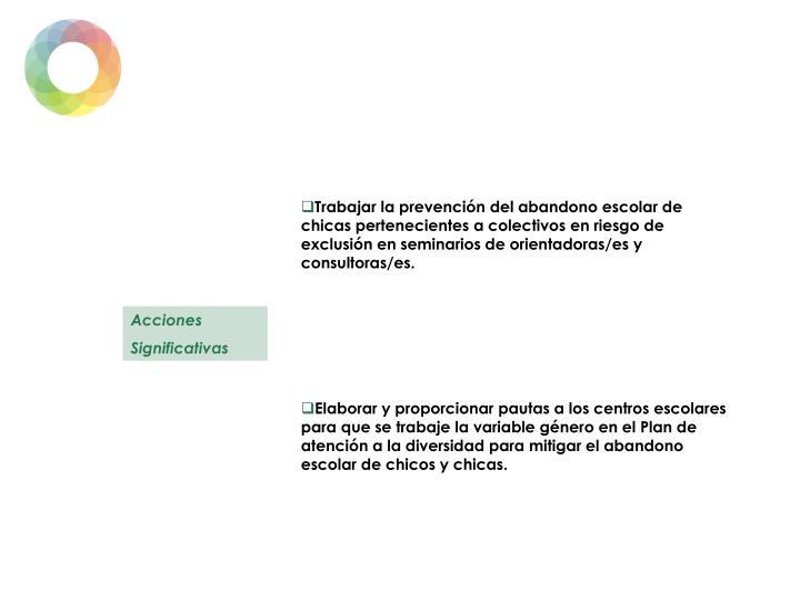 Trabajar la prevención del abandono escolar de chicas pertenecientes a colectivos en riesgo de exclusión en seminarios de orientadoras/es y consultoras/es.