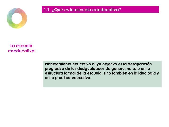 1.1. ¿Qué es la escuela coeducativa?