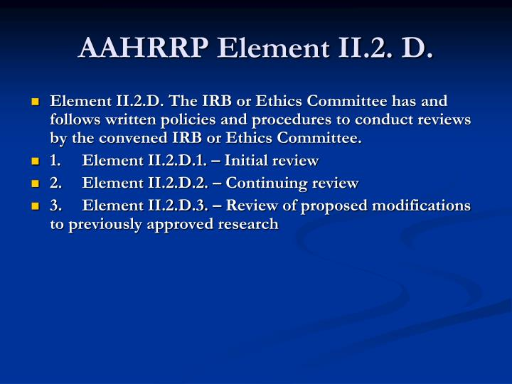AAHRRP Element II.2. D.