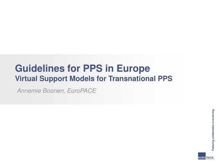 Guidelines for PPS in Europe