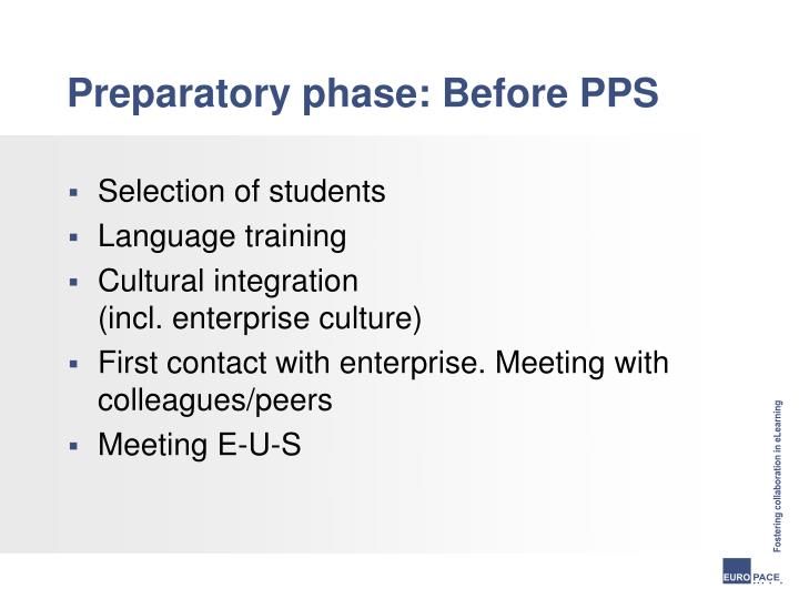 Preparatory phase: Before PPS