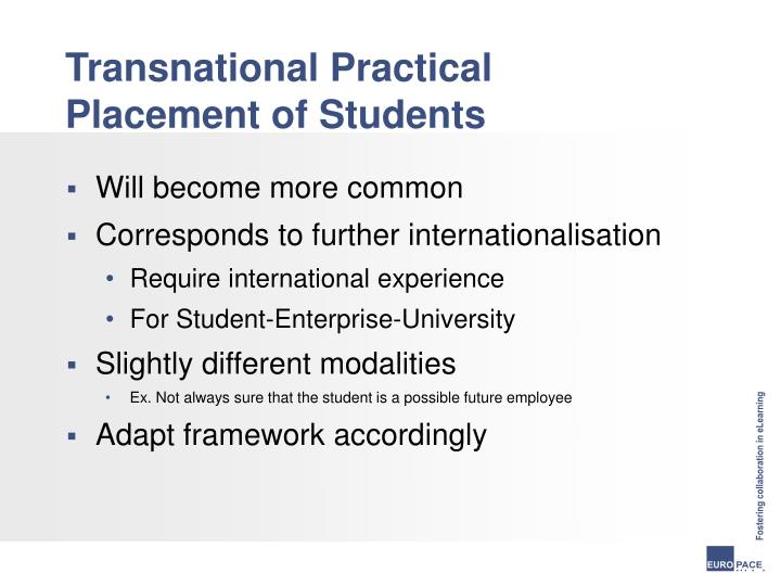 Transnational practical placement of students