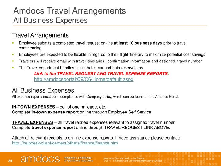 Amdocs Travel Arrangements