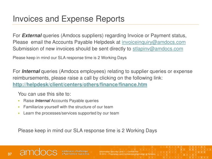 Invoices and Expense Reports
