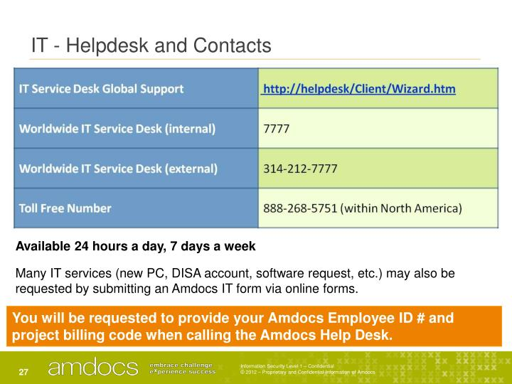 IT - Helpdesk and Contacts