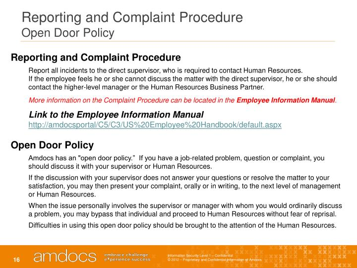 Reporting and Complaint Procedure