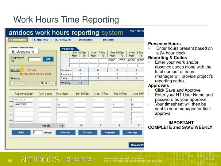 Work Hours Time Reporting