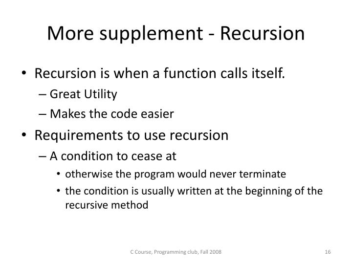 More supplement - Recursion