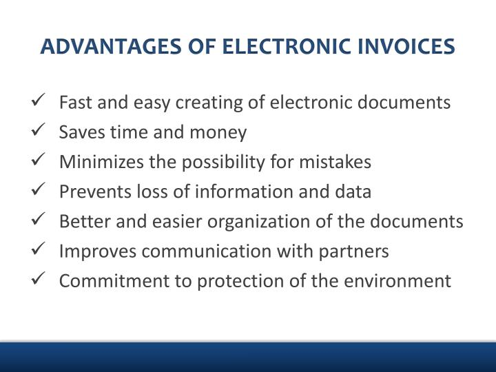 ADVANTAGES OF ELECTRONIC INVOICES