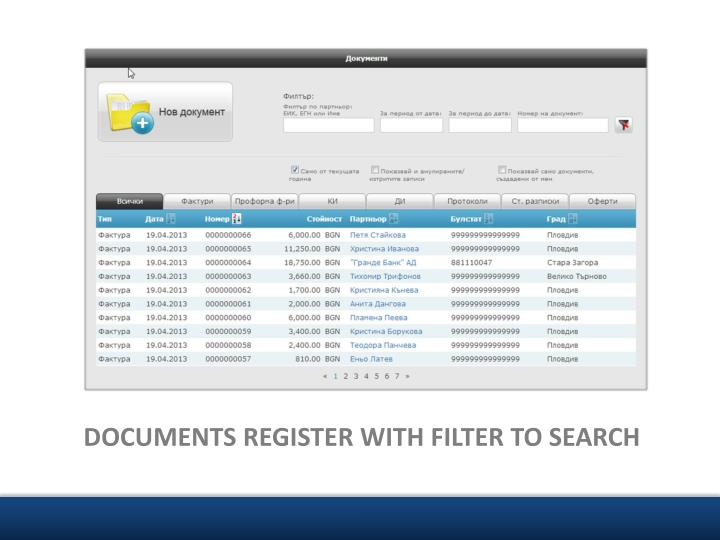 DOCUMENTS REGISTER WITH FILTER TO SEARCH