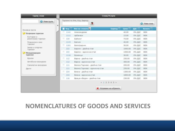 NOMENCLATURES OF GOODS AND SERVICES