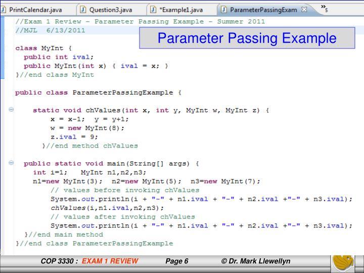 Parameter Passing Example