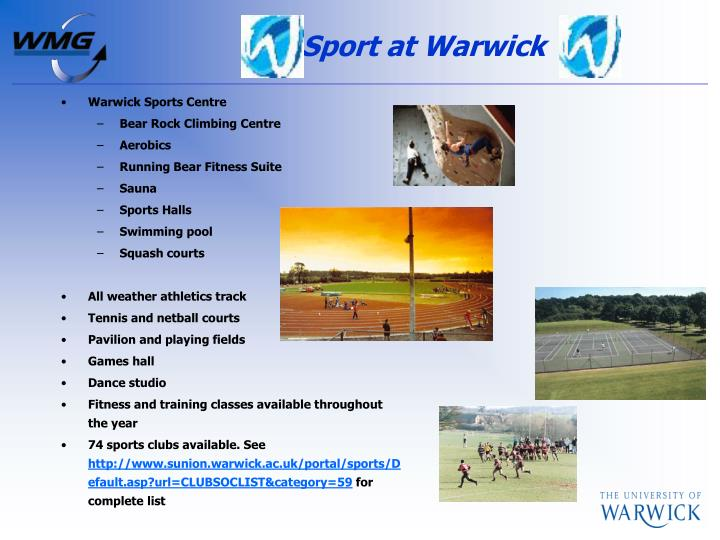 Sport at Warwick