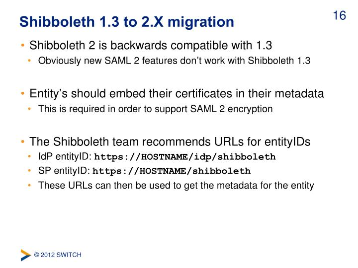 Shibboleth 1.3 to 2.X migration