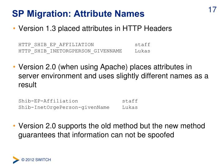 SP Migration: Attribute Names