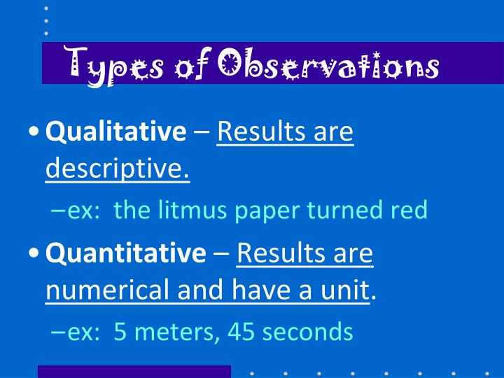 Types of Observations