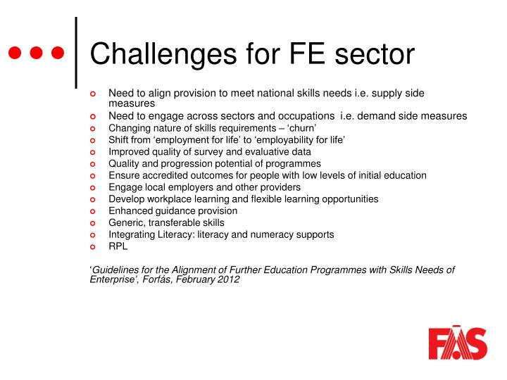 Challenges for FE sector