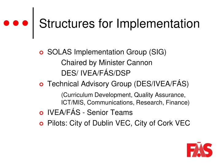 Structures for Implementation