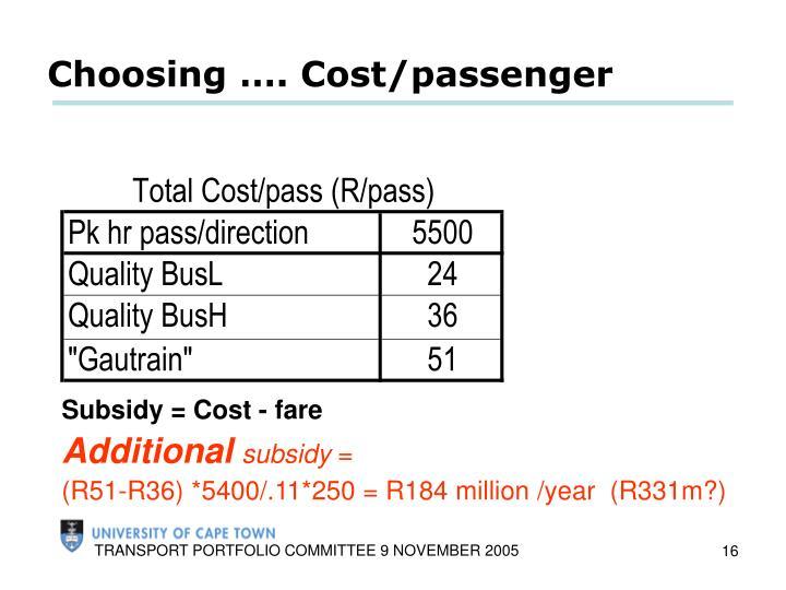 Choosing …. Cost/passenger