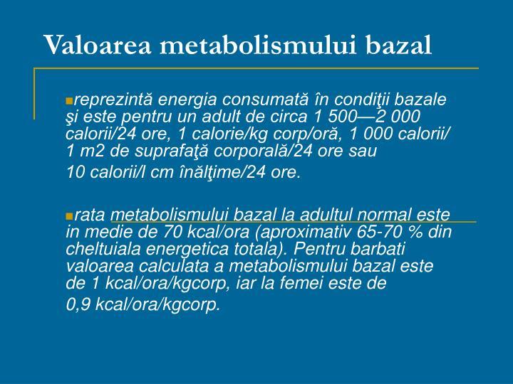 Valoarea metabolismului bazal