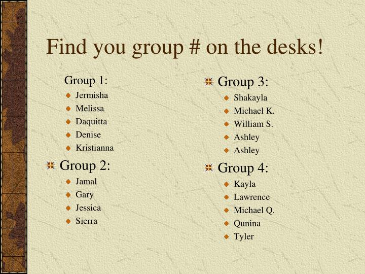Find you group # on the desks!
