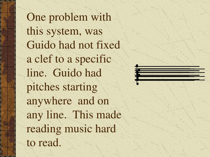 One problem with this system, was Guido had not fixed a clef to a specific line.  Guido had pitches starting anywhere  and on any line.  This made reading music hard to read.