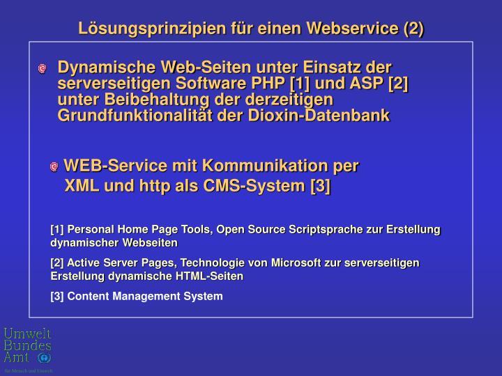 Dynamische Web-Seiten unter Einsatz der serverseitigen Software PHP [1] und ASP [2] unter Beibehaltung der derzeitigen Grundfunktionalität der Dioxin-Datenbank